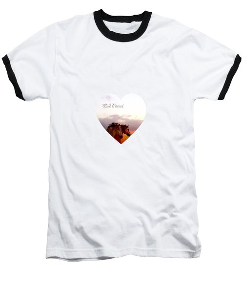 Baseball T-Shirt featuring the painting Wild Moorland Ponies by Valerie Anne Kelly