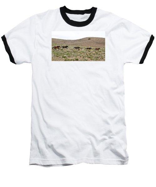 Wild Mustang Herd Running Baseball T-Shirt