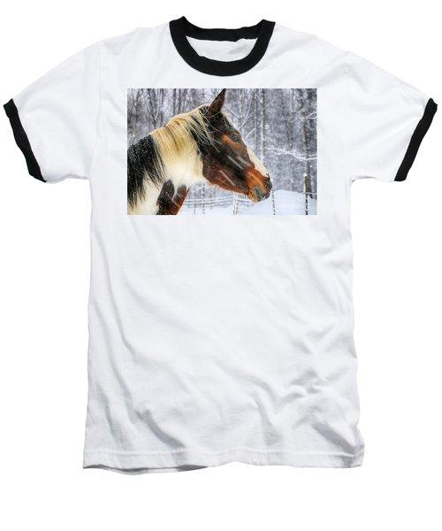 Wild Winter Storm Baseball T-Shirt by Elizabeth Dow