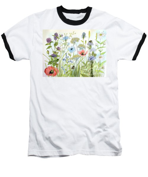 Wildflower And Bees Baseball T-Shirt