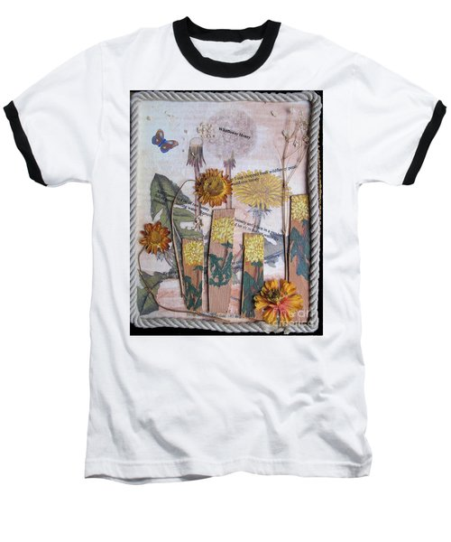 Baseball T-Shirt featuring the mixed media Wildflower Honey by Sandy McIntire