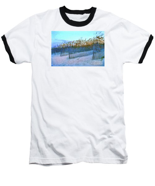 Baseball T-Shirt featuring the digital art Wind Fence On Beach by Linda Olsen