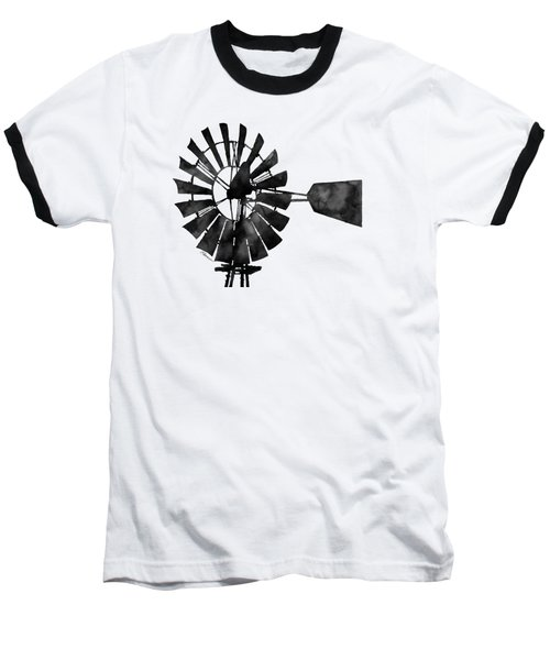Baseball T-Shirt featuring the painting Windmill In Black And White by Hailey E Herrera
