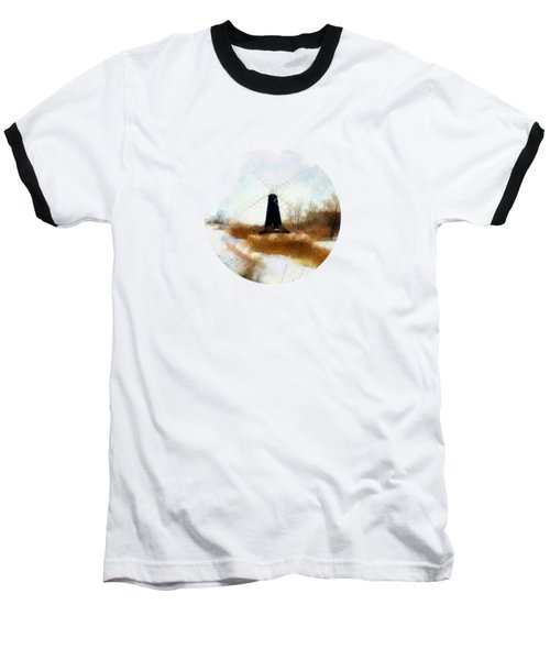 Windmill In The Snow Baseball T-Shirt