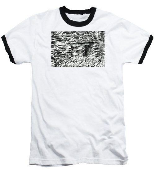 Window View Of Sope Creek In Black And White Baseball T-Shirt by James Potts