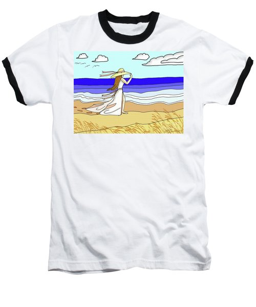 Windy Day At The Beach Baseball T-Shirt by Patricia L Davidson