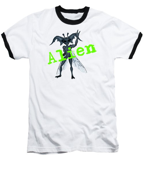Winged Alien Peace Out Baseball T-Shirt