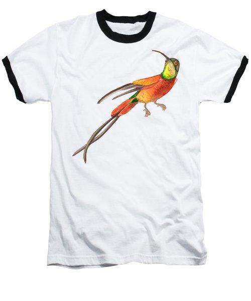 Winged Jewel 6, Watercolor Tropical Rainforest Hummingbird Red, Yellow, Orange And Green Baseball T-Shirt