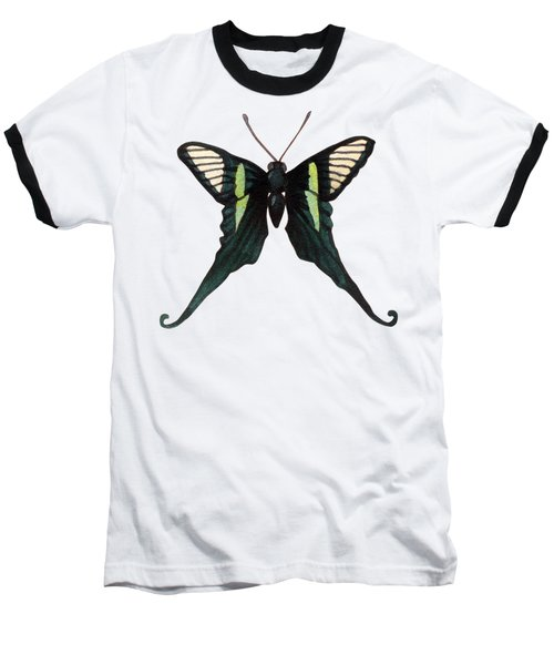 Winged Jewels 3, Watercolor Tropical Butterfly With Curled Wing Tips Baseball T-Shirt