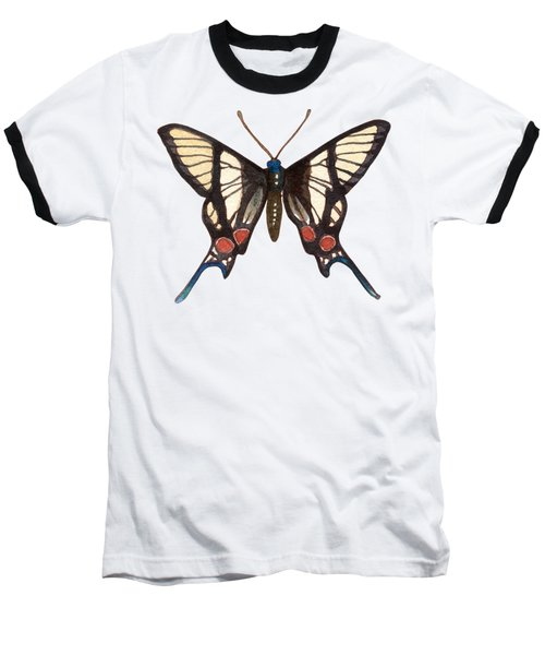 Baseball T-Shirt featuring the painting Winged Jewels 4, Watercolor Tropical Butterflie Black White Red Spots by Audrey Jeanne Roberts