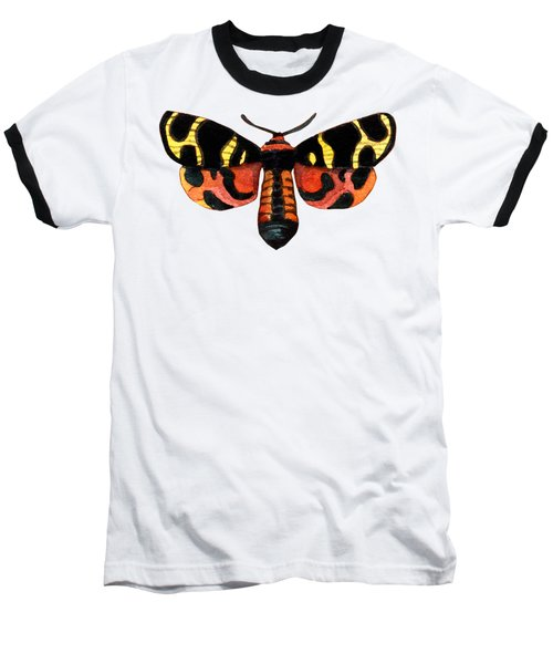 Baseball T-Shirt featuring the painting Winged Jewels 5, Watercolor Moth Black Yellow Orange And Red Tropical by Audrey Jeanne Roberts