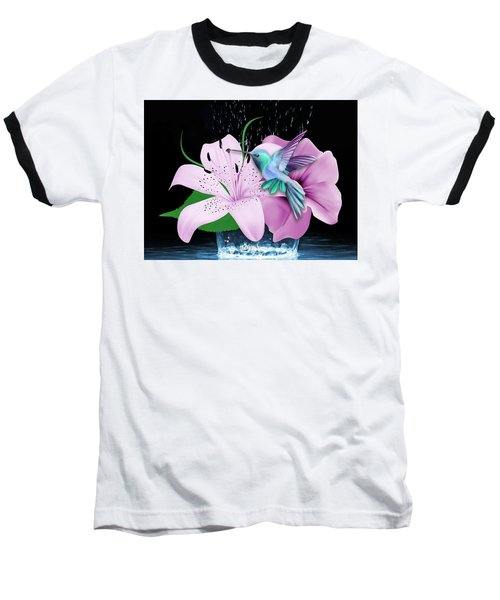 Baseball T-Shirt featuring the mixed media Winging It Hummingbird by Marvin Blaine