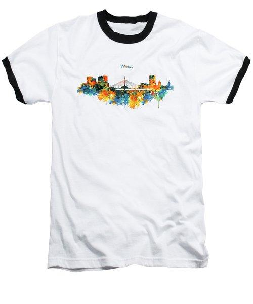 Winnipeg Skyline Baseball T-Shirt by Marian Voicu
