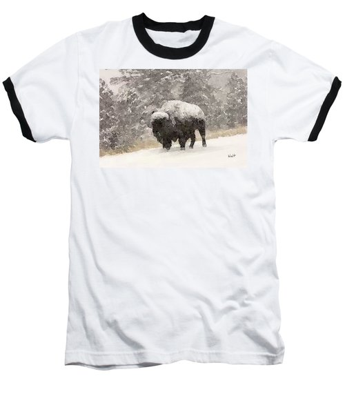 Baseball T-Shirt featuring the digital art Winter Bison by Walter Chamberlain