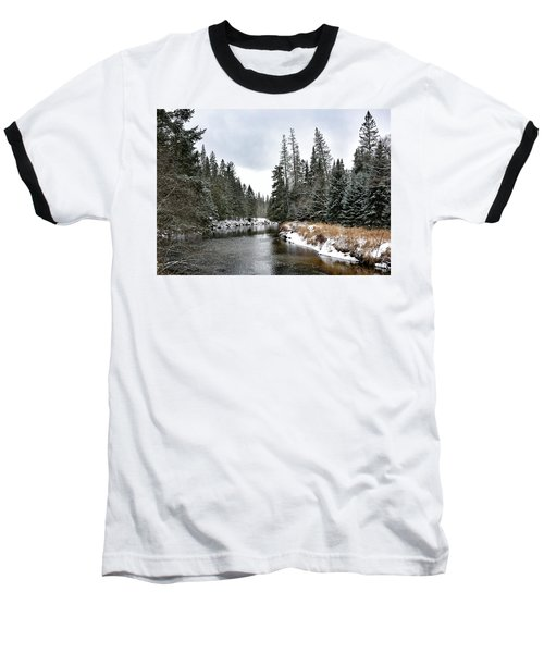 Baseball T-Shirt featuring the photograph Winter Creek In Adirondack Park - Upstate New York by Brendan Reals