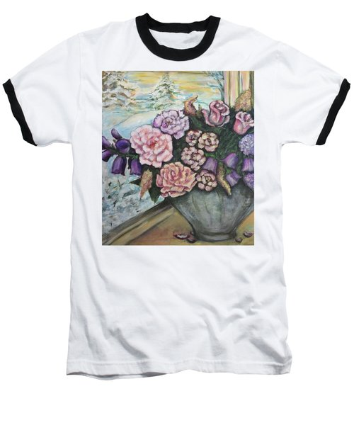 Baseball T-Shirt featuring the painting Winter Flowers by Rae Chichilnitsky