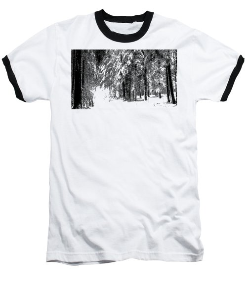 Winter Forest Bw - Cross Hatching Baseball T-Shirt