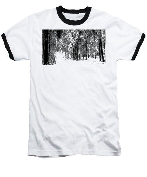 Winter Forest Bw - Cross Hatching Baseball T-Shirt