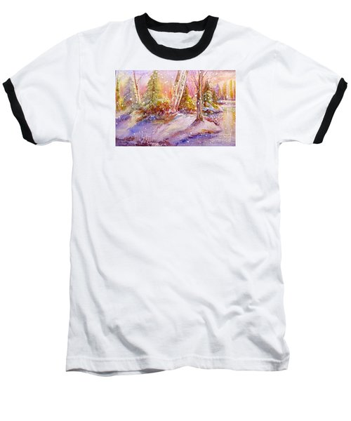Baseball T-Shirt featuring the painting Winter Forest  by Patricia Schneider Mitchell