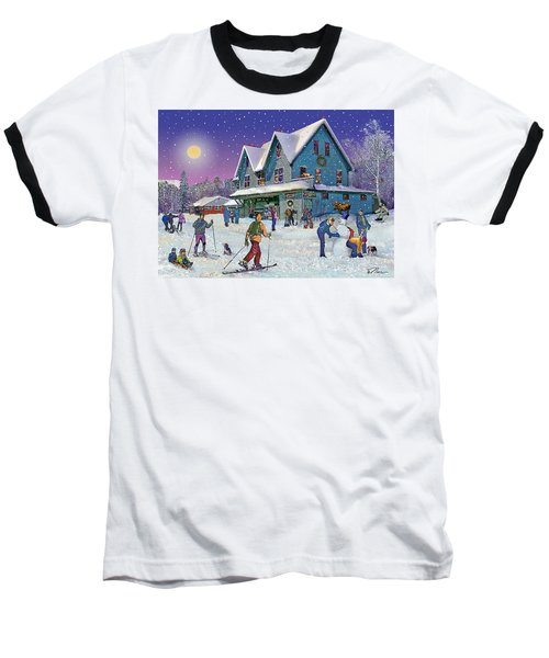 Winter In Campton Village Baseball T-Shirt by Nancy Griswold