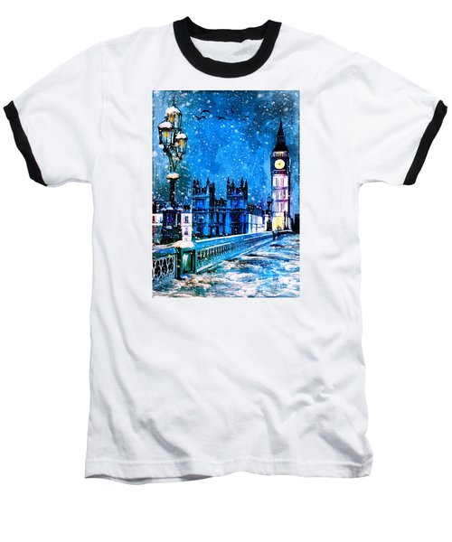 Winter In London  Baseball T-Shirt by Andrzej Szczerski