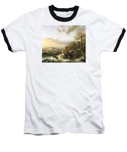 Winter Landscape With Peasants Gathering Wood Baseball T-Shirt