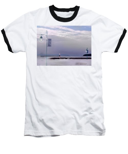 Winter Lights To Rock Point Digital Painting Of Evening Sentries At The Coast Guard Station Baseball T-Shirt