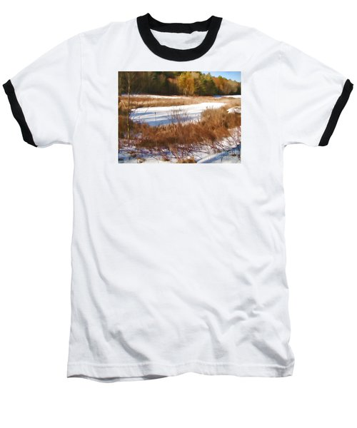 Winter Marsh Baseball T-Shirt by Betsy Zimmerli