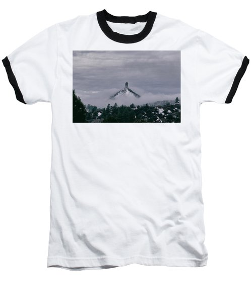 Winter Morning Fog Envelops Chimney Rock Baseball T-Shirt by Jason Coward