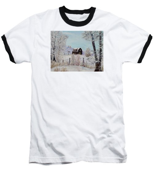 Baseball T-Shirt featuring the painting Winter Solace by Marilyn  McNish