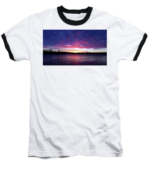 Winter Sunrise On The Wisconsin River Baseball T-Shirt by Brook Burling