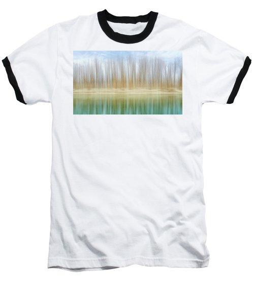 Winter Trees On A River Bank Reflecting Into Water Baseball T-Shirt
