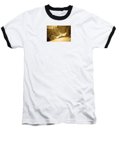 Baseball T-Shirt featuring the photograph Winter Wonderland In Switzerland - Up The Hills by Susanne Van Hulst