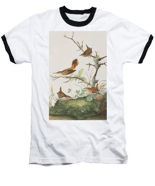 Winter Wren Or Rock Wren Baseball T-Shirt by John James Audubon