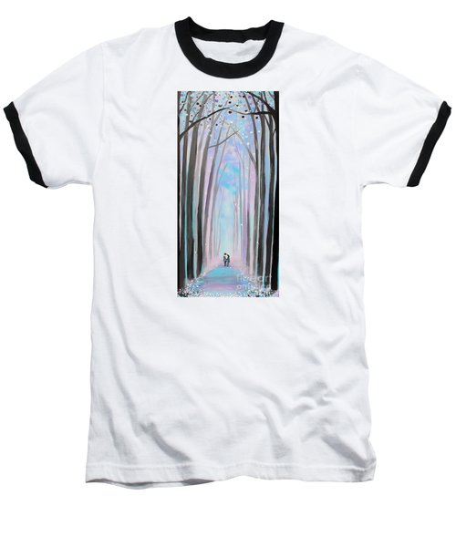 Baseball T-Shirt featuring the painting Winter's Walk by Stacey Zimmerman