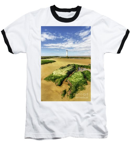 Wirral Lighthouse Baseball T-Shirt by Ian Mitchell