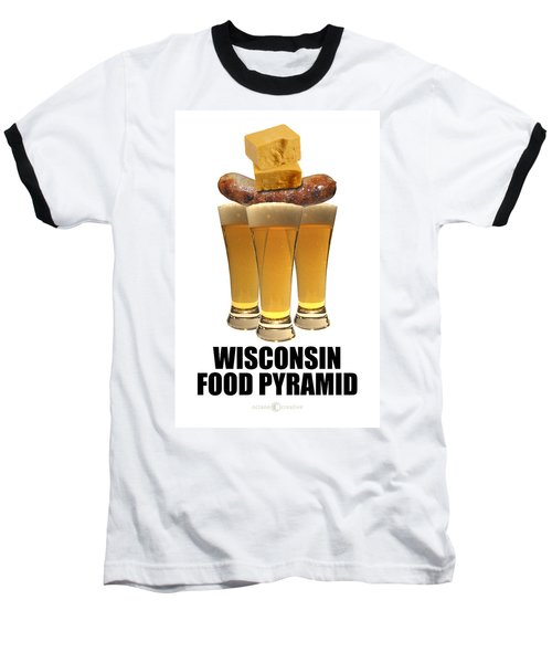 Wisconsin Food Pyramid Baseball T-Shirt