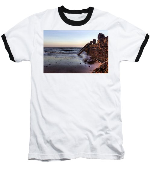 Withernsea Groynes At Sunset Baseball T-Shirt