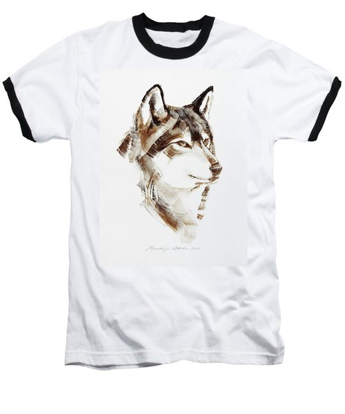 Wolf Head Brush Drawing Baseball T-Shirt