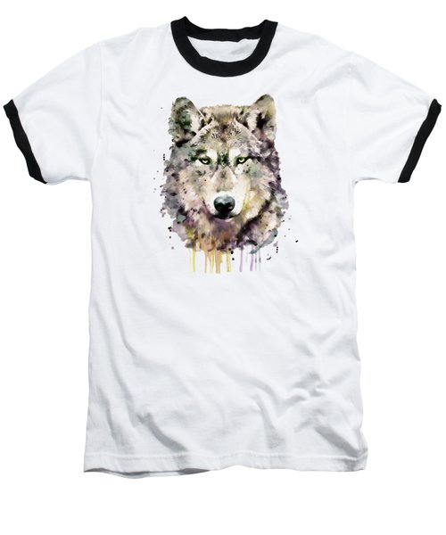 Wolf Head Baseball T-Shirt by Marian Voicu