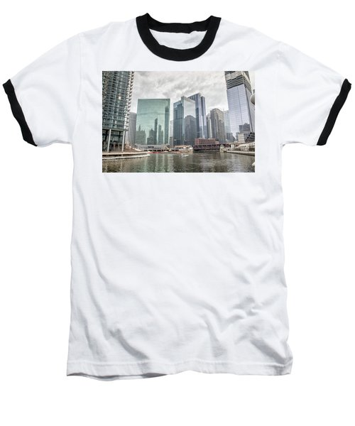 Baseball T-Shirt featuring the photograph Wolf Point Where The Chicago River Splits by Peter Ciro