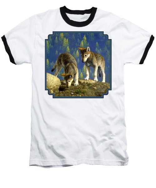Wolf Pups - Anybody Home Baseball T-Shirt by Crista Forest