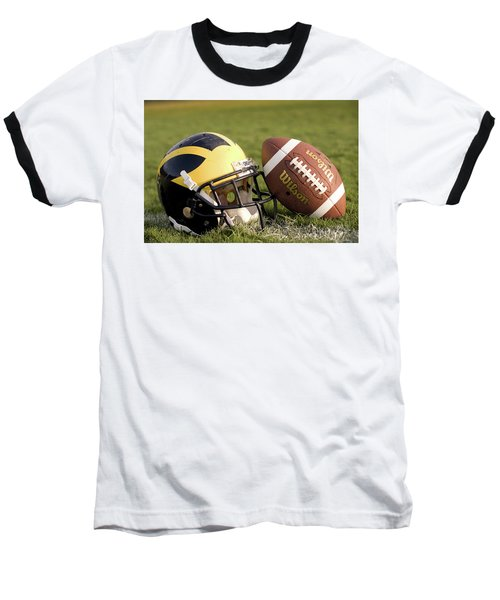 Wolverine Helmet With Football On The Field Baseball T-Shirt