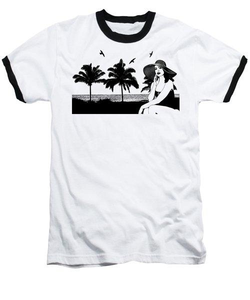 Woman At The Beach Palm Tree Silhouette Art Baseball T-Shirt