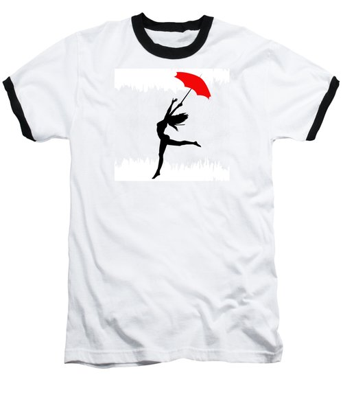 Woman Dancing In The Rain With Red Umbrella Baseball T-Shirt