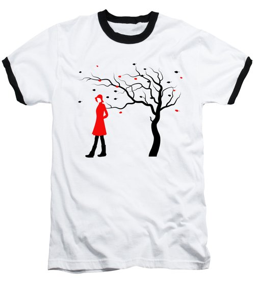 Woman In Red Hat And Trench Coat Walking In Blustery Autumn Rain Baseball T-Shirt