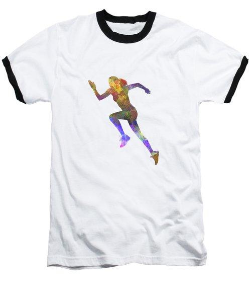 Woman Runner Running Jogger Jogging Silhouette 03 Baseball T-Shirt by Pablo Romero