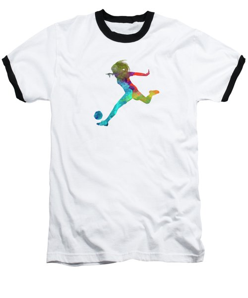 Woman Soccer Player 01 In Watercolor Baseball T-Shirt