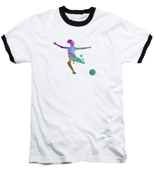 Woman Soccer Player 03 In Watercolor Baseball T-Shirt by Pablo Romero