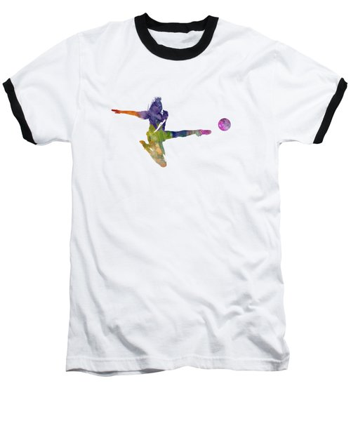 Woman Soccer Player 04 In Watercolor Baseball T-Shirt by Pablo Romero